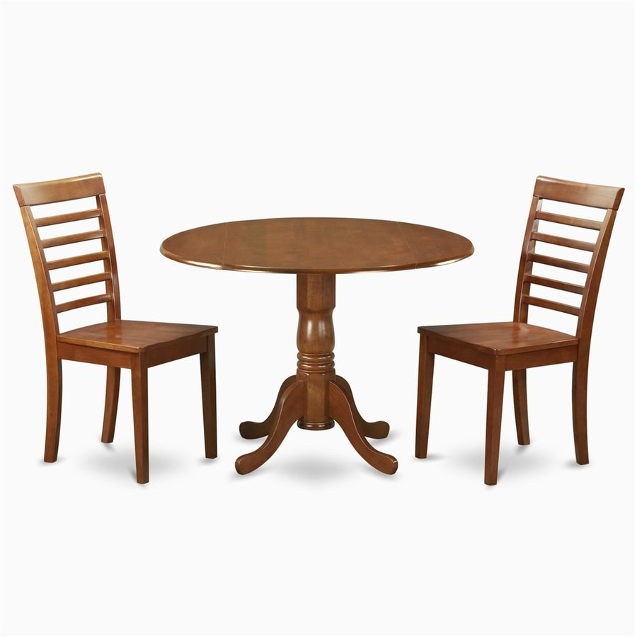East West Furniture Dublin Saddle Brown Dining Set with Round Dining (29-in to 31-In) Table