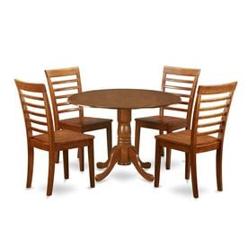 East West Furniture Dublin Saddle Brown 5 Piece Dining Set With Round Dining  Table