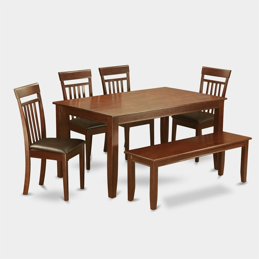 East West Furniture Dudley Mahogany 6-Piece Dining Set with Dining Table