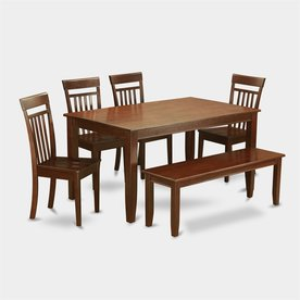 East West Furniture Dudley Mahogany 6 Piece Dining Set With Dining Table