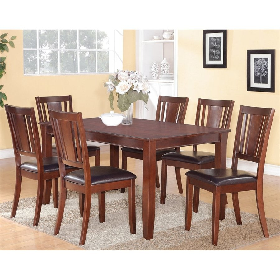 East West Furniture Dudley Mahogany 7-Piece Dining Set with Dining Table