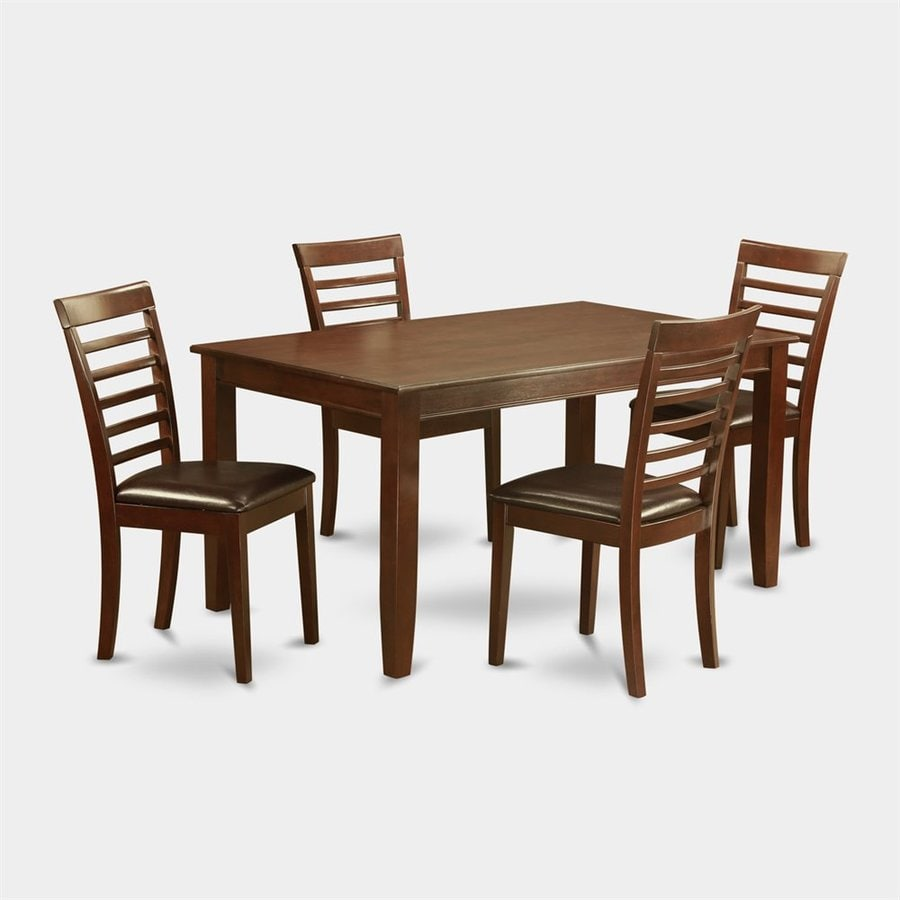 East West Furniture Dudley Mahogany 5-Piece Dining Set with Dining Table