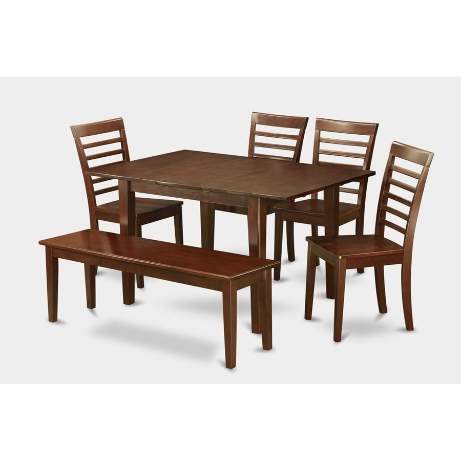 East West Furniture Milan Mahogany Dining Set with Rectangular Dining (29-in to 31-In) Table