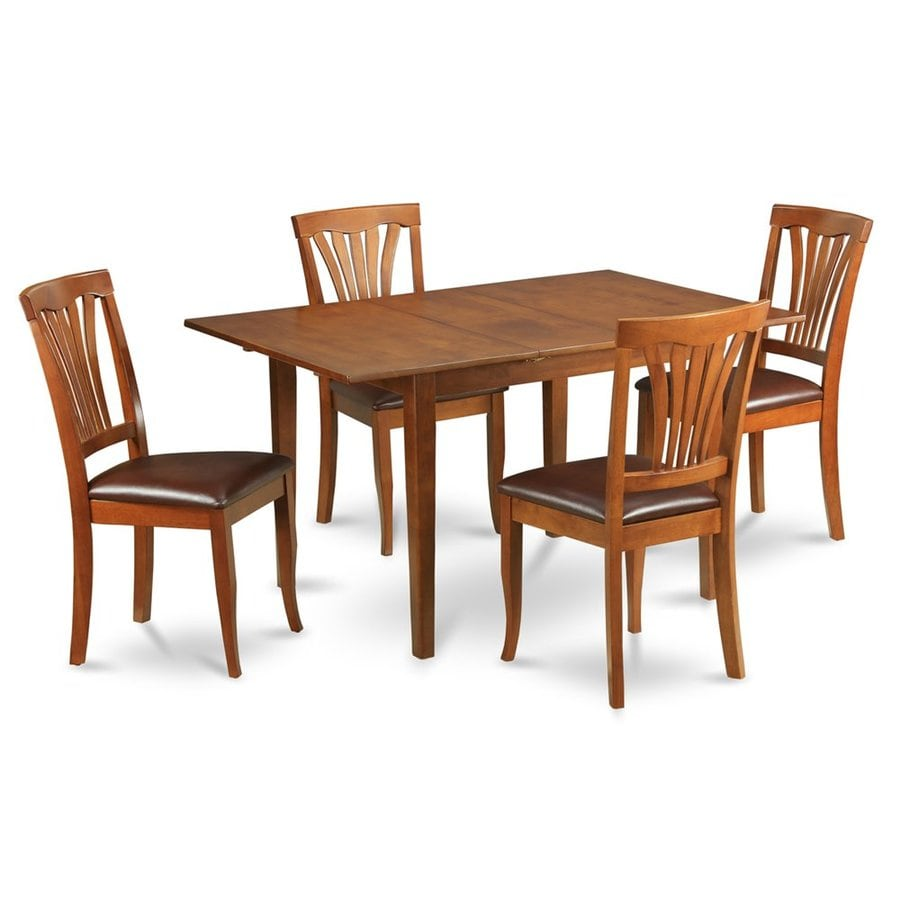 East West Furniture Milan Saddle Brown Dining Set with Rectangular Dining (29-in to 31-In) Table