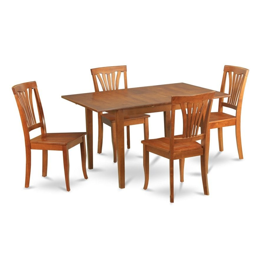 East West Furniture Milan Saddle Brown 5-Piece Dining Set with Dining Table