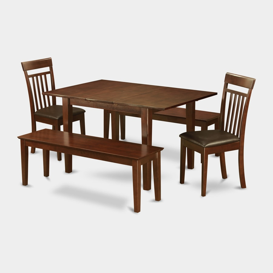 East West Furniture Milan Mahogany 6-Piece Dining Set with Dining Table