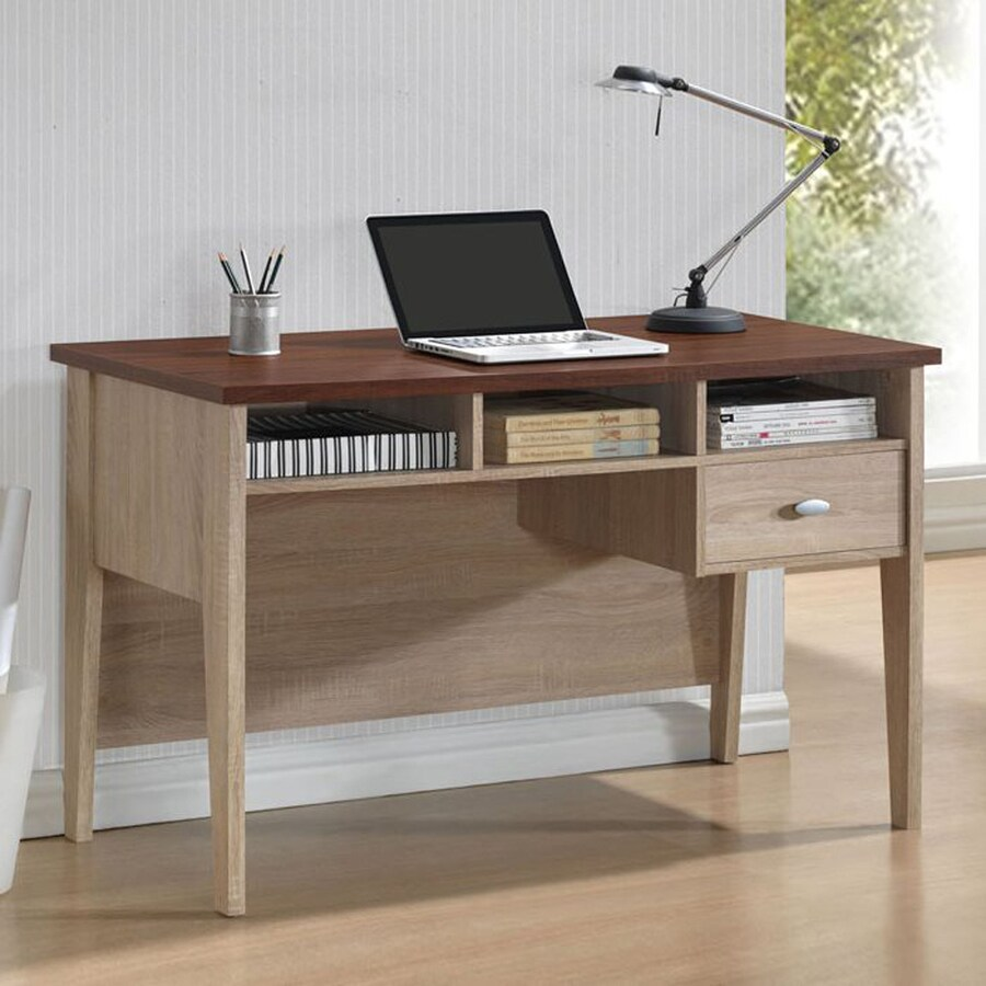 home decorators collection sonoma oak shop baxton studio sonoma oak writing desk at lowes 12883