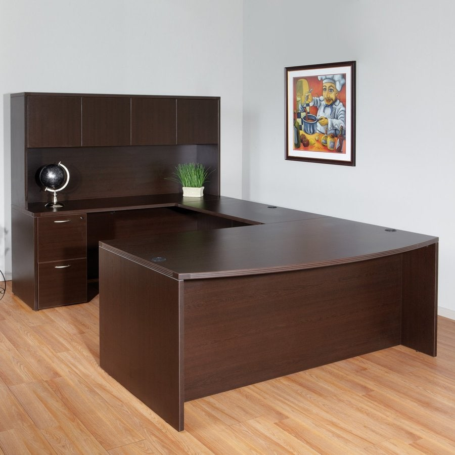 Office Star Napa Transitional Espresso U Shaped Desk