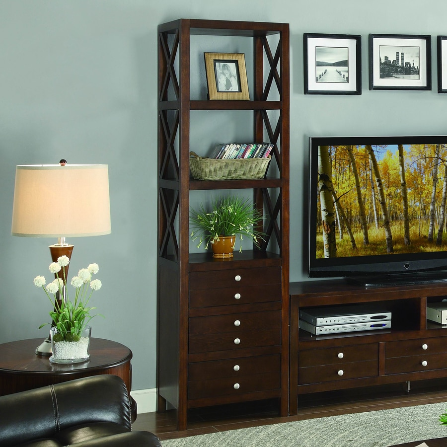 Homelegance Polson Espresso 3-Shelf Bookcase