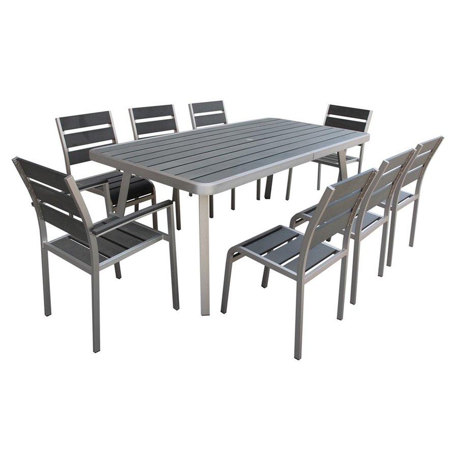 Boraam Industries Fresca 9-Piece Grey Plastic Patio Dining Set