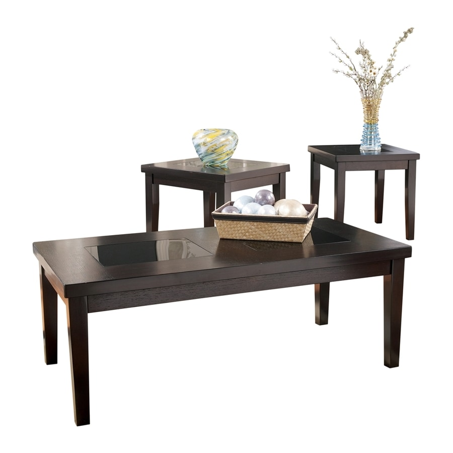 Signature Design By Ashley Denja 3 Piece Dark Brown Birch Accent Table Set