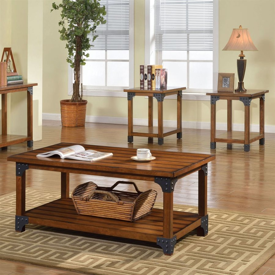 Furniture of America Bozeman 3-Piece Antique Oak Asian Hardwood Accent  Table Set - Furniture Of America Bozeman 3-Piece Antique Oak Asian Hardwood