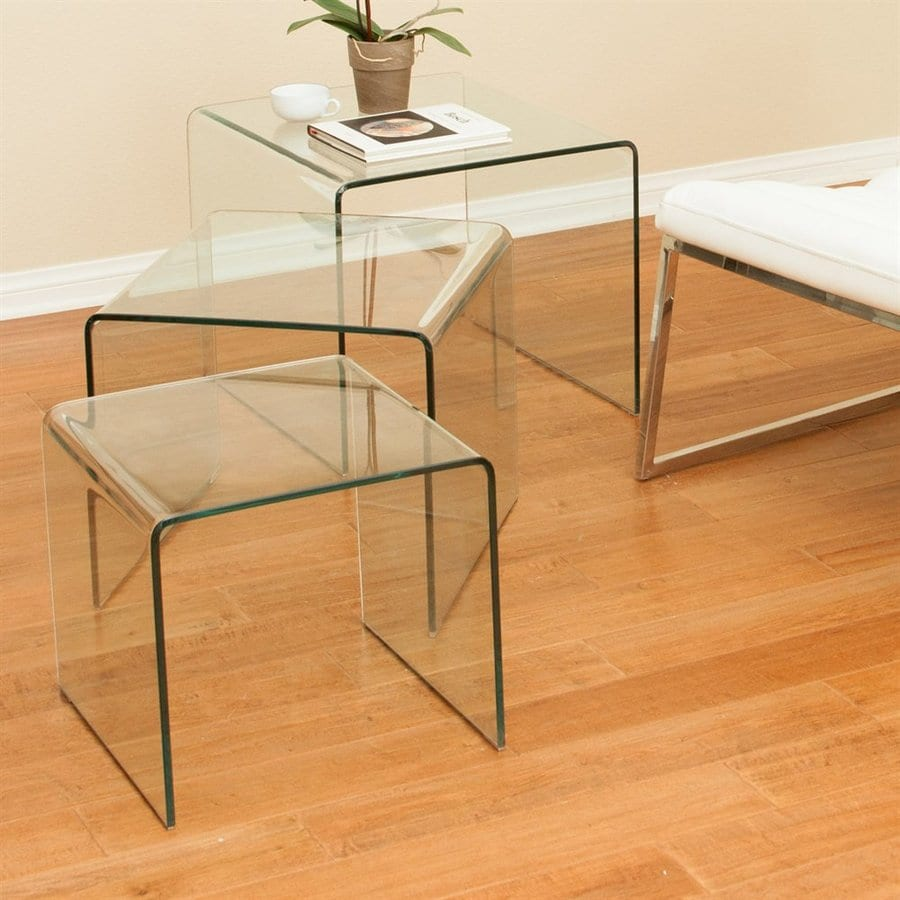 Elegant Best Selling Home Decor Ramona 3 Piece Clear Accent Table Set