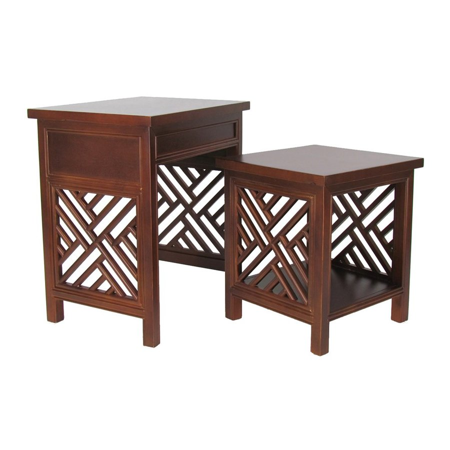 Ashley Furniture Metairie: Wayborn Furniture Lattice 2-Piece Walnut Basswood Accent