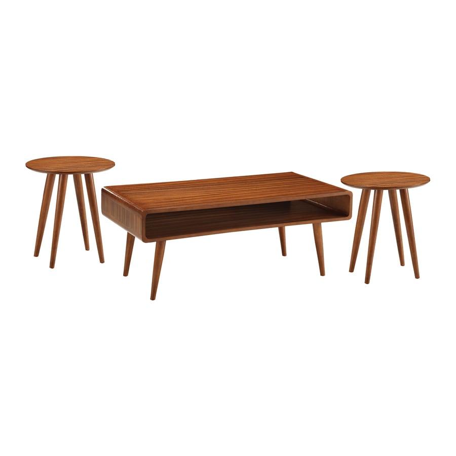 Shop Boraam Industries Zebra 3 Piece Rich Walnut Rubberwood Accent Table Set At