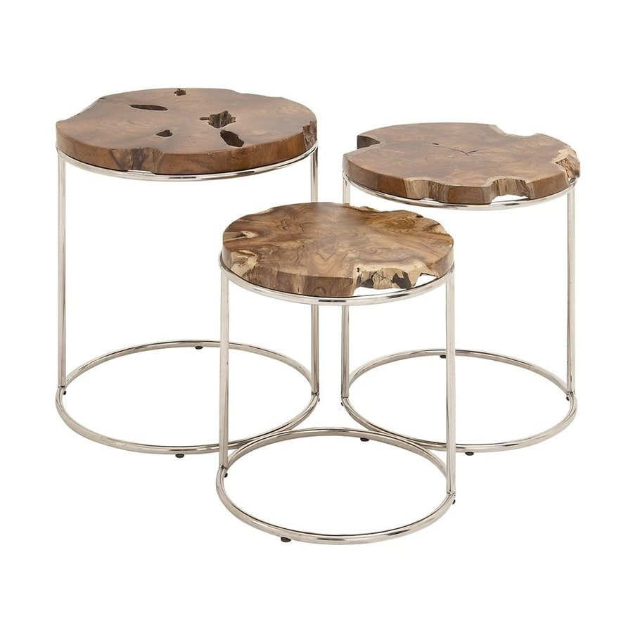 Woodland Imports 3-Piece Teak Accent Table Set