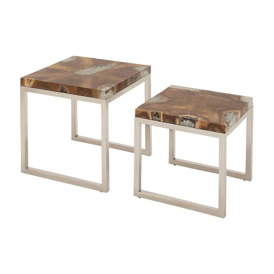 Woodland Imports 2-Piece Teak Accent Table Set
