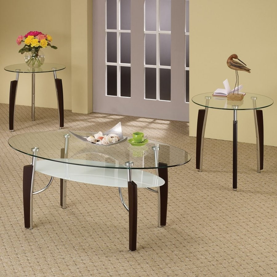 Coaster Fine Furniture 3 Piece Clear Accent Table Set