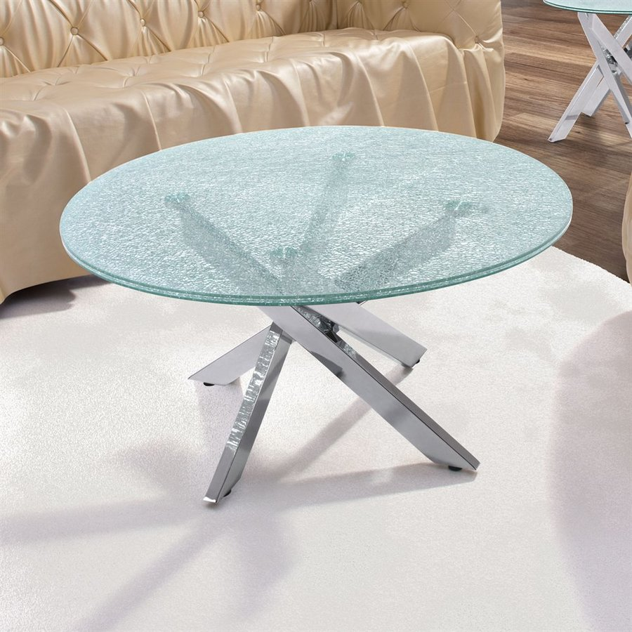 Zuo Modern Modern Stance Crackled Glass Round Coffee Table