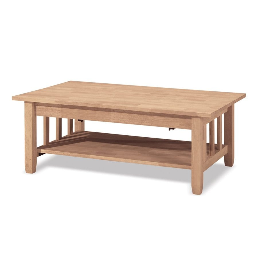 Rubberwood Coffee Table.International Concepts Mission Natural Rubberwood Wood Rectangular