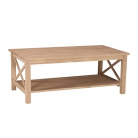 International Concepts Hampton Natural Rubberwood Wood Rectangular Coffee  Table