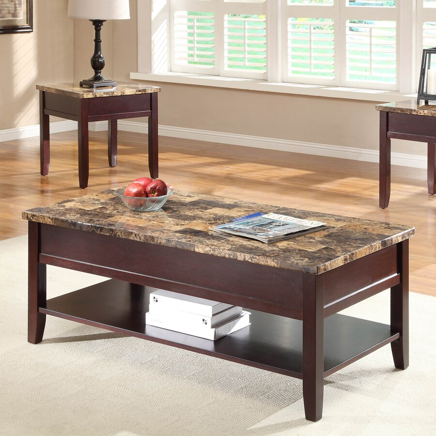 Homelegance Orton Medium Dark Brown Faux Marble Coffee Table