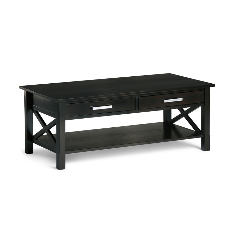 Shop Simpli Home Kitchener Dark Walnut Pine Coffee Table At