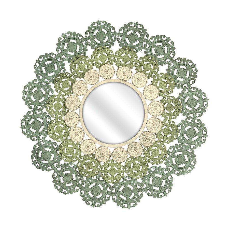 Imax Worldwide McGuire Blue/Green/Ivory Framed Round Wall Mirror