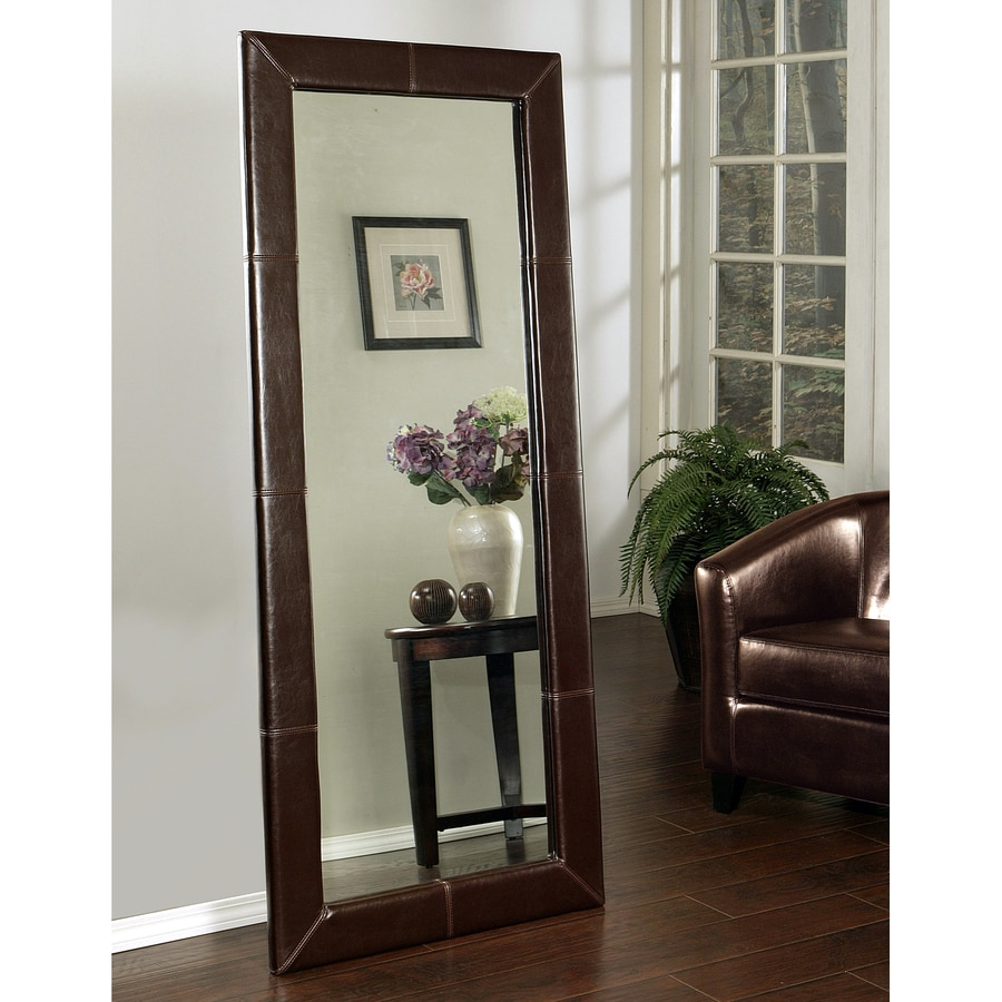 Shop pacific loft logan brown framed floor mirror at for Framed floor mirror
