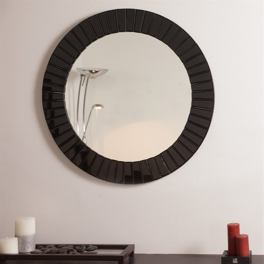 Decor Wonderland The Glow 27.6-in x 27.6-in Black Round Framed Bathroom Mirror
