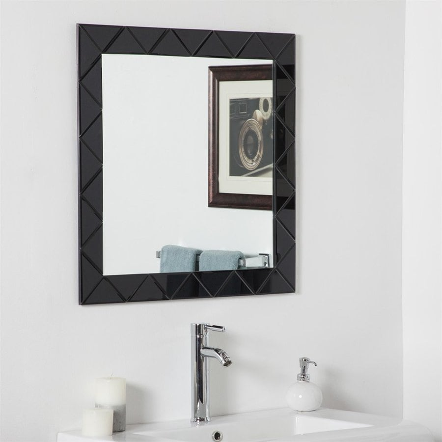 Decor Wonderland Luciano 27.6-in x 27.6-in Black Square Framed Bathroom Mirror