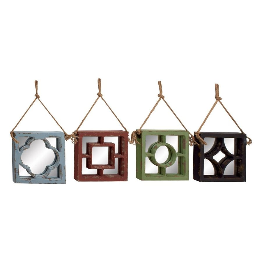 Woodland Imports Simply Lovely Multicolor Framed Square Wall Mirror