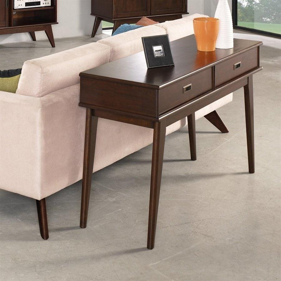 Simpli Home Draper Mid Century Medium Auburn Brown Wood Midcentury Console  Table
