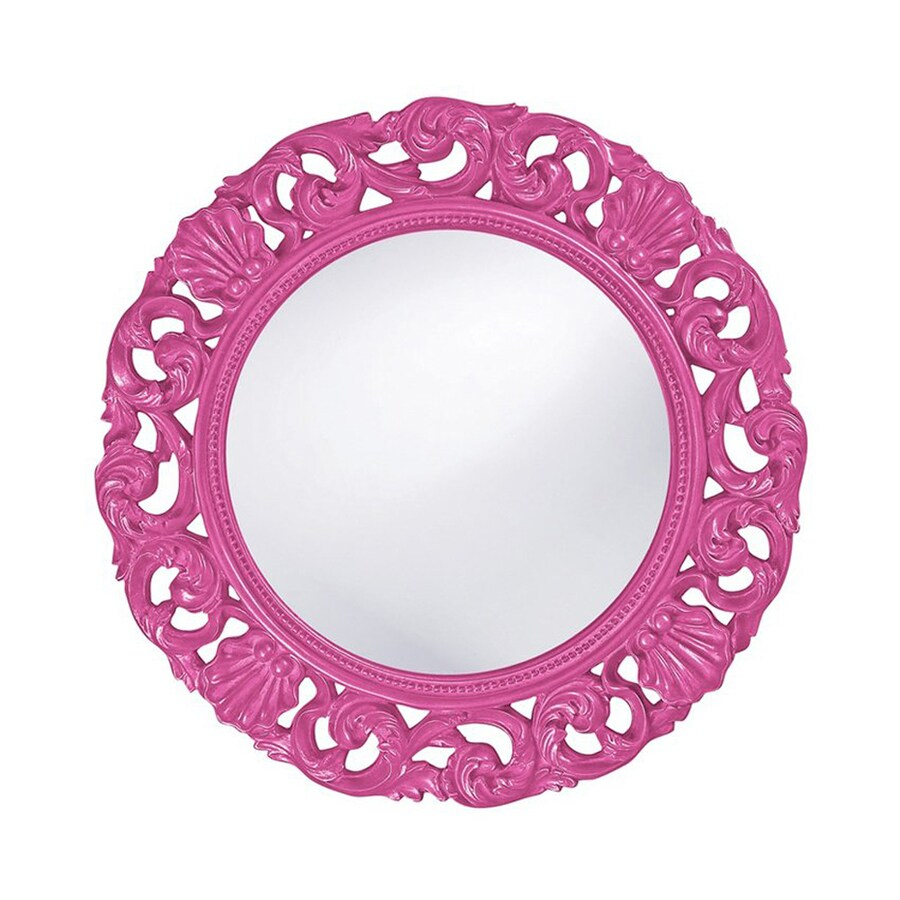 Tyler Dillon Glendale Hot Pink Framed Round Wall Mirror