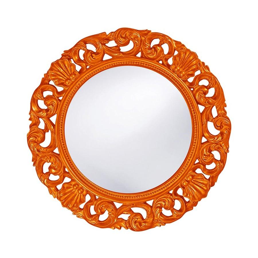 Tyler Dillon Glendale Orange Framed Round Wall Mirror