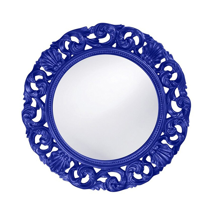 Tyler Dillon Glendale Royal Blue Framed Round Wall Mirror