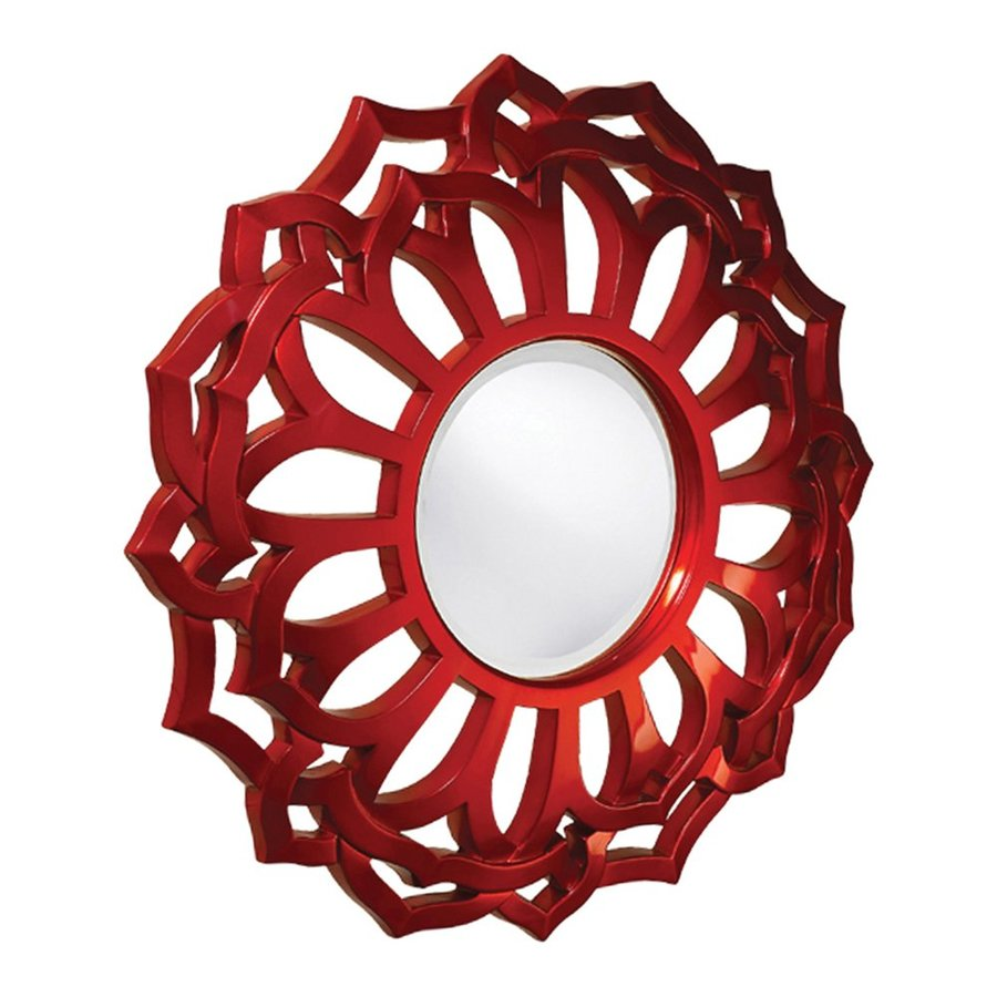 Tyler Dillon Casey Metallic Red Beveled Round Wall Mirror