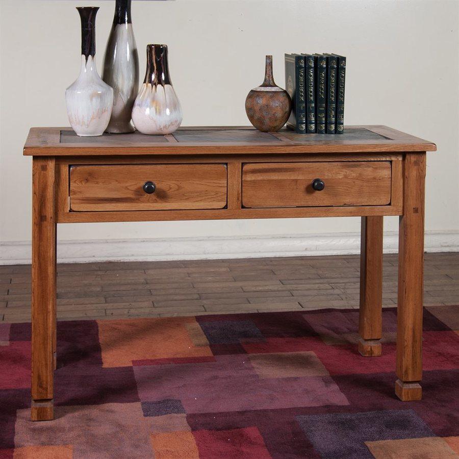 Sunny Designs Sedona Rustic Oak Tile Mission Shaker Console Table At
