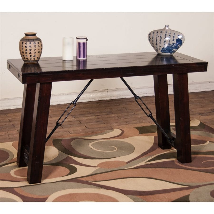 Sunny Designs Vineyard Rustic Mahogany Wood Asian Console Table