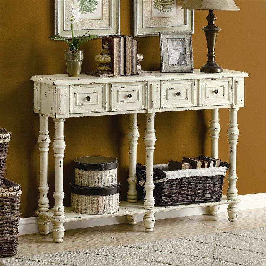Monarch Specialties Antique white Rubberwood Console Table