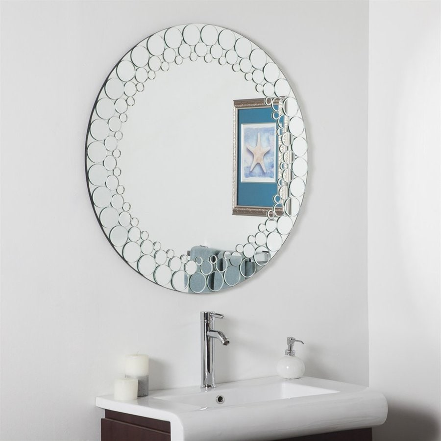 Decor Wonderland Circles 35-in x 35-in Round Framed Bathroom Mirror