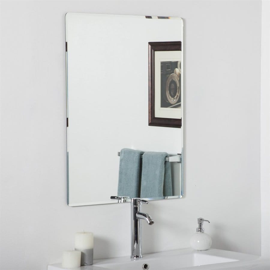 bathroom frameless mirrors shop decor vera 23 6 in rectangular bathroom 10746