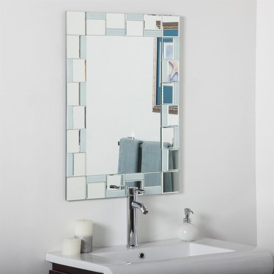 Framed Bathroom Mirror With Shelf shop decor wonderland quebec 23.6-in x 31.5-in rectangular framed