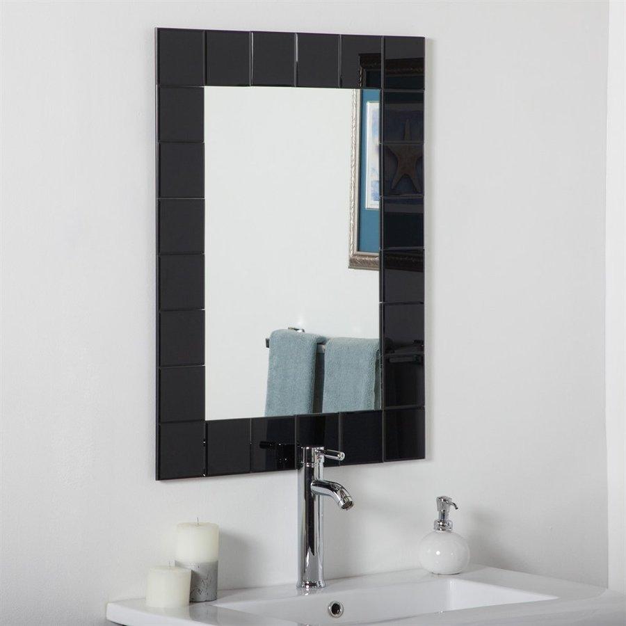 Decor Wonderland Montreal 23.6-in x 31.5-in Black Rectangular Framed Bathroom Mirror