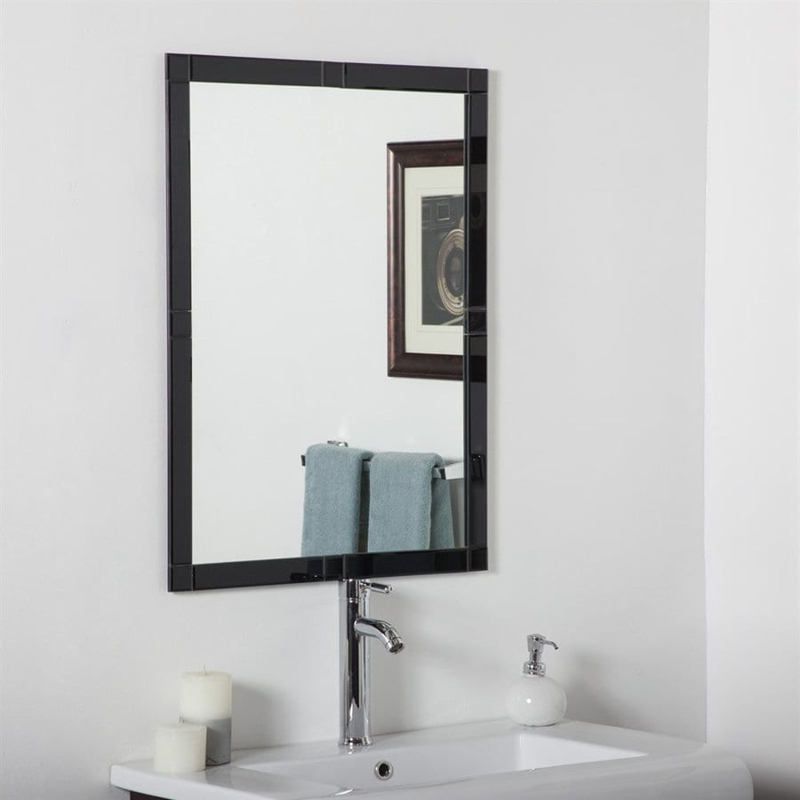 shop bathroom mirrors shop decor kinana 23 6 in black rectangular 14395