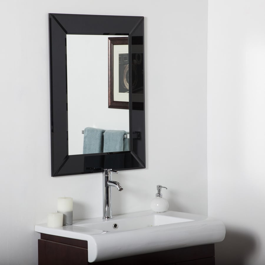 Decor Wonderland Infinity 23.6-in x 31.5-in Black Rectangular Framed Bathroom Mirror