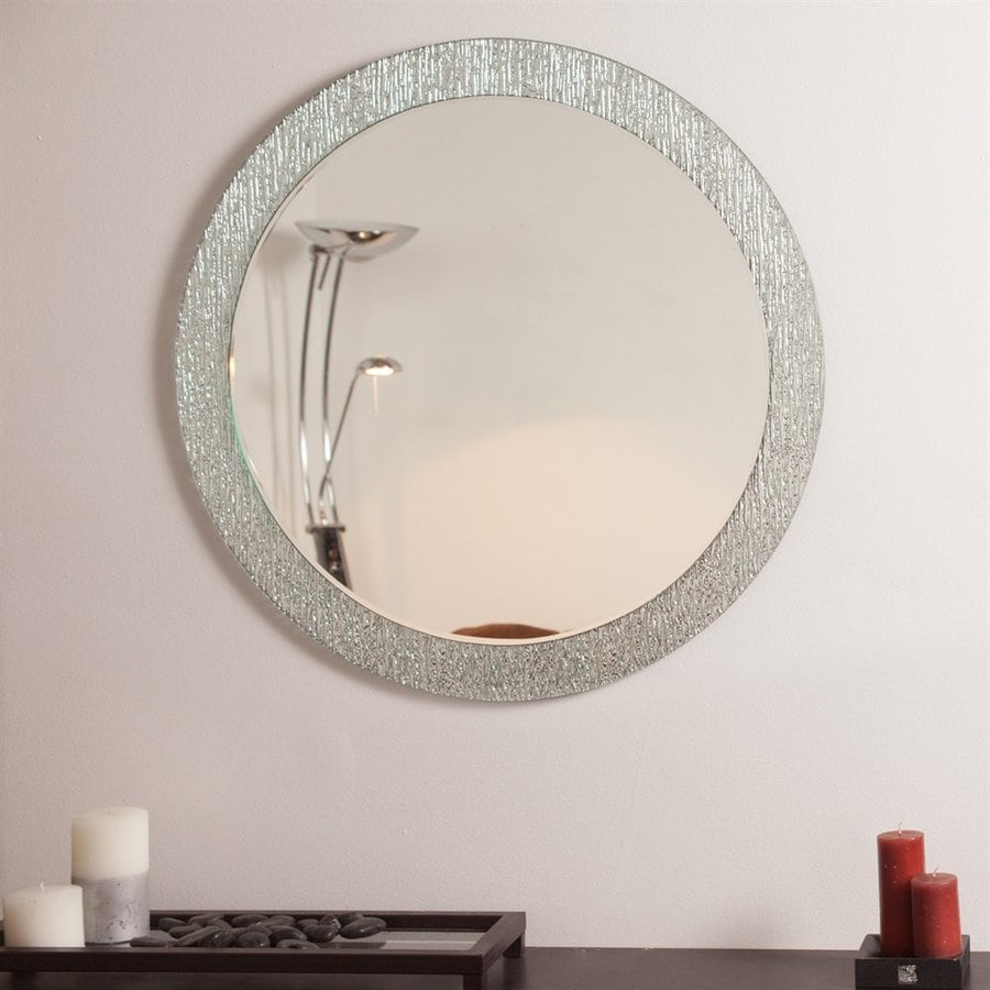 Decor Wonderland Molten 27.6 In Clear Round Bathroom Mirror