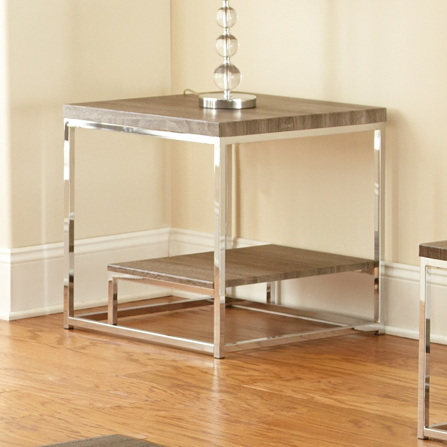 Steve Silver Company Lucia Chrome/Dark Driftwood Grey End Table
