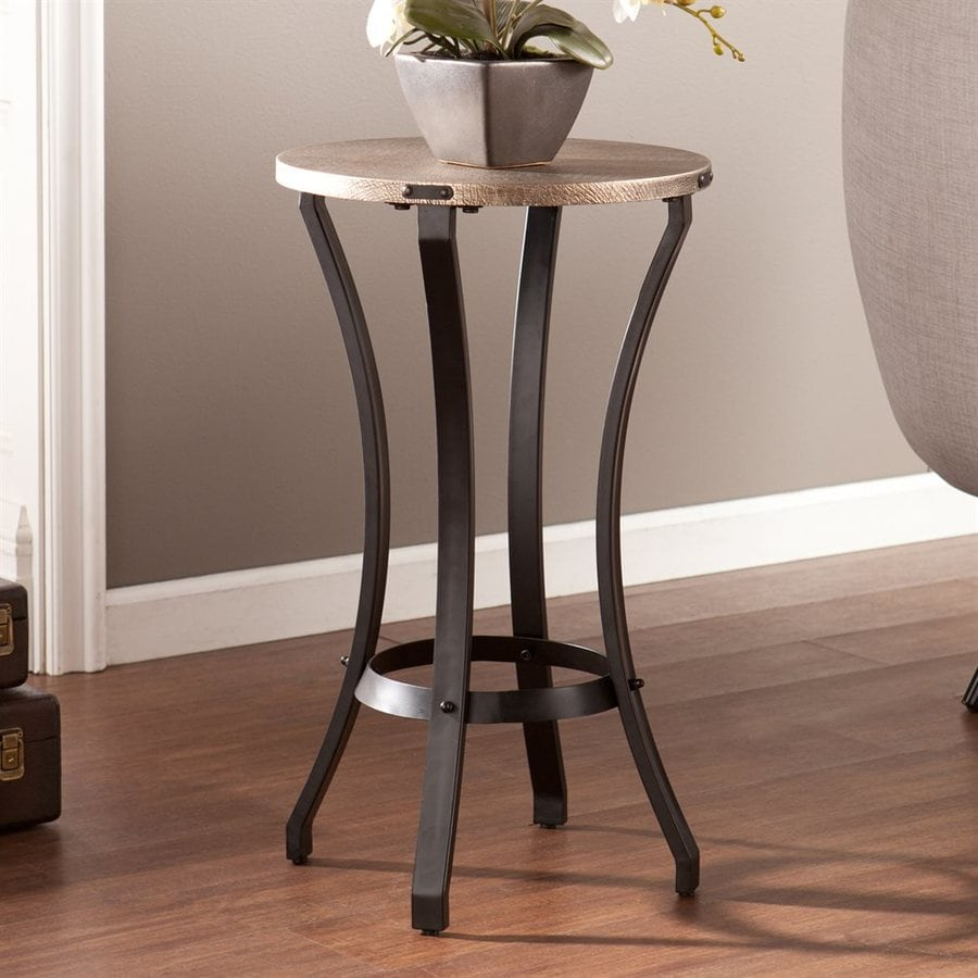 Boston Loft Furnishings Decklin Gold/Matte Black Round End Table