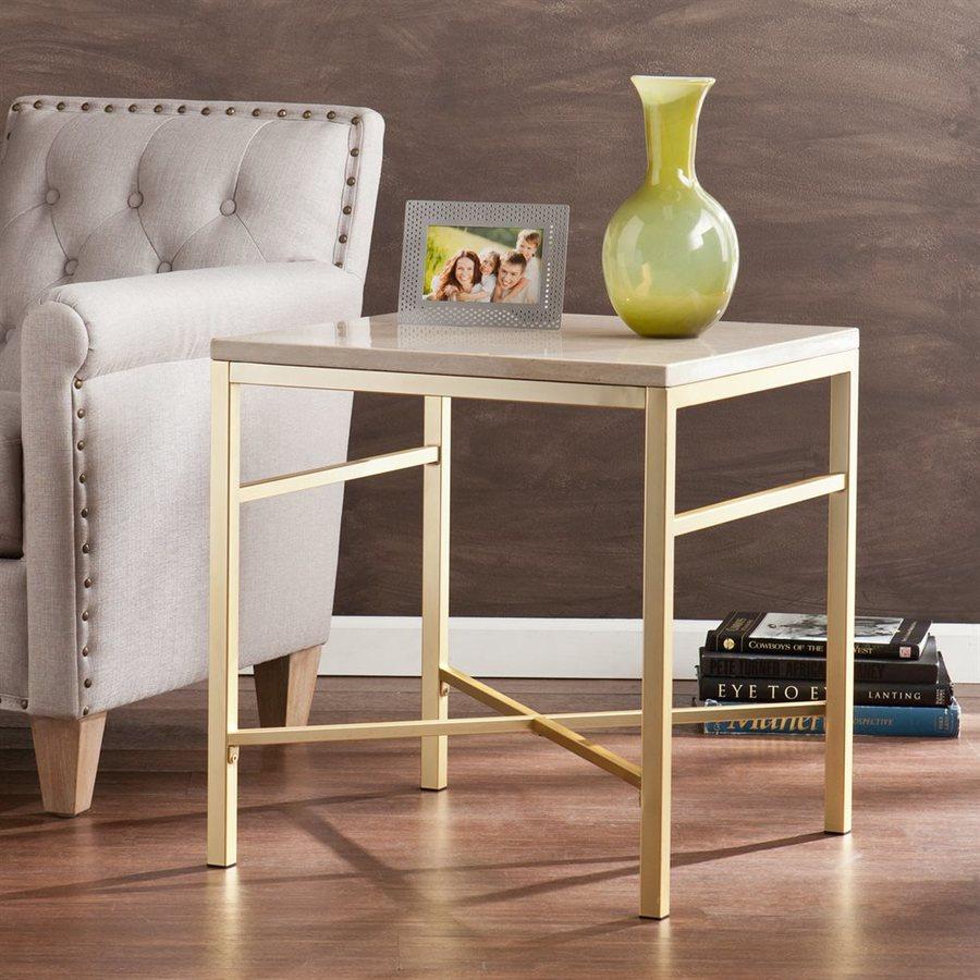 Boston Loft Furnishings Anastasia Cream Travertine/Matte Brass End Table